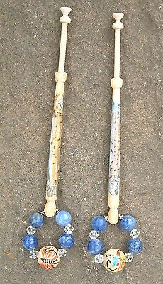Pair Of Lace Bobbins With A Fly Fishing Theme