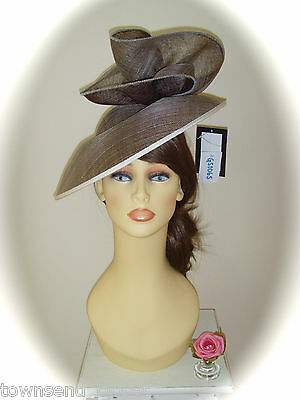 Mother of Bride Ascot Occasion Wedding Gwyther Snoxell Fascinator, Taupe/Ivory