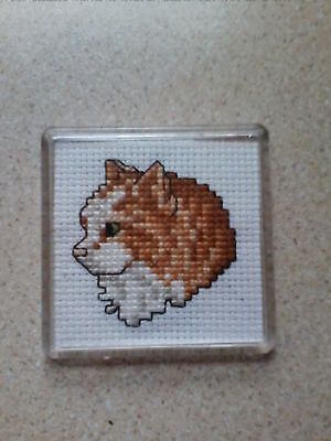 complete cross stitch cats fridge magnets two
