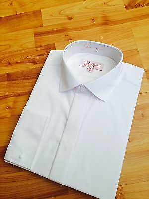 Men's reg fit white dress / normal collar shirt cuff links dinner party ex con