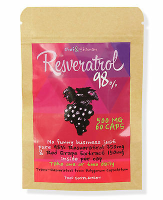 RESVERATROL 98% & RED GRAPE EXTRACT -  500mg x 60 RRP: £15.99 *LOW STOCK*