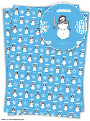 Funny Christmas Xmas Wrapping Paper Gift Wrap Novelty Comedy Humour Jon Snowman