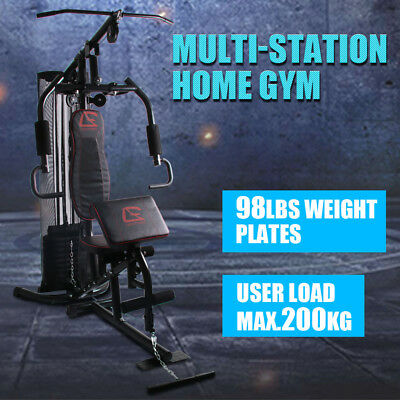 Oz Multi Station Home Gym Fitness Equipment Bench Press  Adjustable Weight Stack