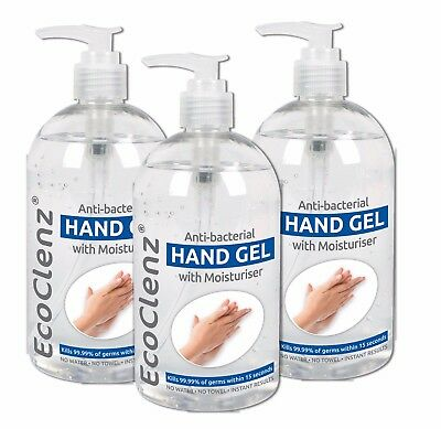 3x 500ml Hand Sanitiser Gel with Moisturiser - Anti-Bacterial  (Pack of 3)