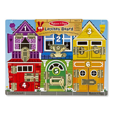 Melissa and Doug Latches Board - Wooden Educational Toy - Fine Motor Skills