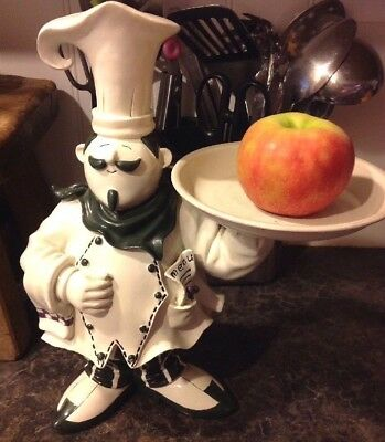 "Italian Chef 14"" Statue Waiter w/ tray Home Decor Pizza Restauraunt Card Holder"