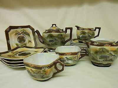 Vintage Antique Japanese Satsuma Moriage Tea Set 17 Pieces Hand Painted