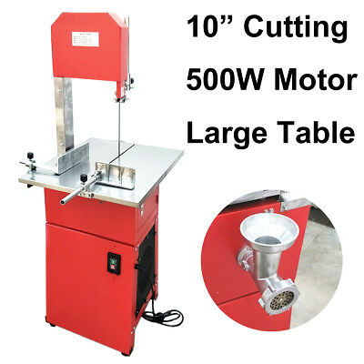 "10"" Large Meat Cutting Vertical Band Saw Stainless Table Mincer Sausage Filler"