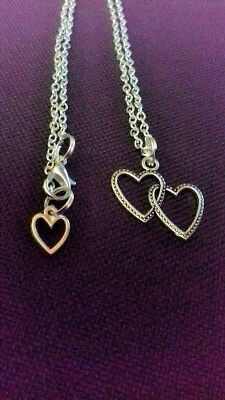 NEW Little Girl's Silver Plated Necklace Childrens Double Heart With Extender