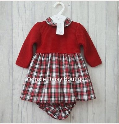 Baby Girls Gorgeous Spanish Red Tartan Jumper Dress & Matching Bloomers ☆