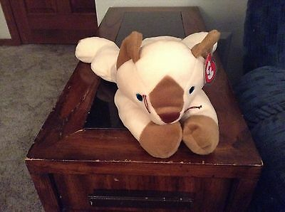 Meow The White/brown Cat Beanie Baby Pillow Pal!  New, Never Displayed! Nice!