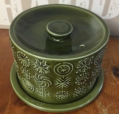 Vintage Green Portmeirion Susan Williams-Ellis Totem Cheese Dish and Lid