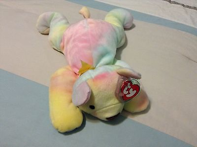 Sherbert The Tie Dyed Bear Beanie Baby Pillow Pal! Never Displayed!  New!