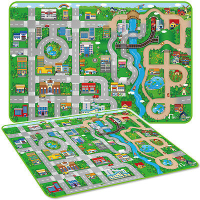 Large Kids Play Mat Eva Soft Foam Carpet Clean Educational Game Car City Town