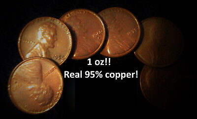 AROUND 1 oz OUNCE OF 95% COPPER LINCOLN PENNIES - PRE-1982 - BULLION! INVESTMENT