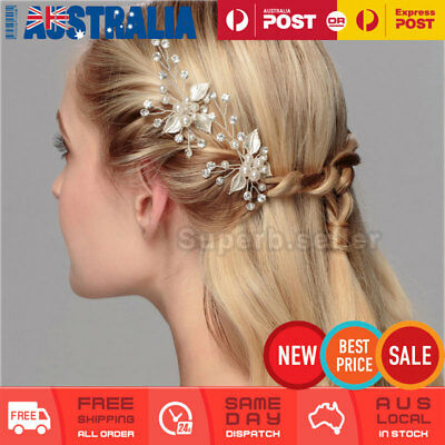 Pearl Rhinestone Flower Bridal Hair Pins Comb Clip Fascinator Wedding Party Prom