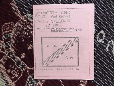 1974 Cycle Speedway Programme 9/6/74 - Spixworth & South Walsham Perseverance
