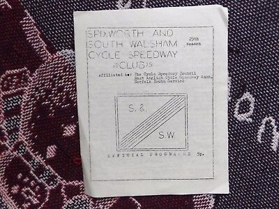 1975 CYCLE SPEEDWAY PROGRAMME 15/6/75 - SPIXWORTH & SOUTH WALSHAM v NORWICH