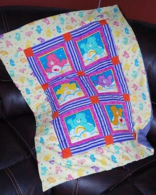 Handmade Patchwork Care Bears Colorful Baby Quilt Cotton Blanket Unique