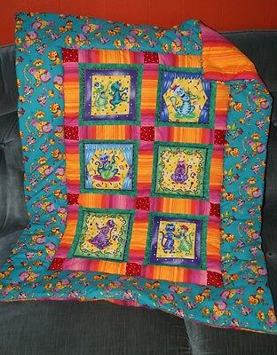 Handmade Colorful Bright Jazzy Cats Baby Quilt Cotton Blanket Unique NEW