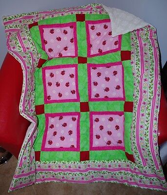Handmade Patchwork Pink LadyBug Baby Quilt Cotton Blanket Unique NEW