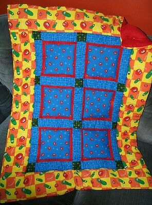 Handmade Religoius Veggie Yellow Blue Tales Baby Quilt Cotton Blanket Unique NEW