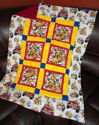 Handmade Stuffed Safari Zoo Animals Bears Baby Quilt Cotton Blanket Unique NEW