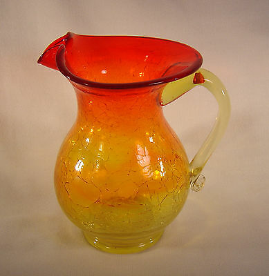 "Large Amberina Crackle Glass ~ 6"" Pitcher / Vase ~ Hand Blown - Flared Top"