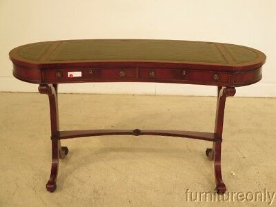 F41638: Regency Style Kidney Shaped Leather Top Mahogany Desk