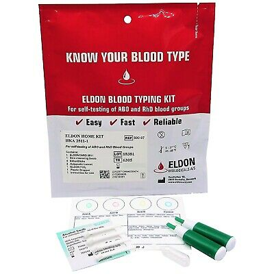 Blood Type Test Kit Home Blood Group Testing Kit A, B, O Rhesus D Eldoncard - CE