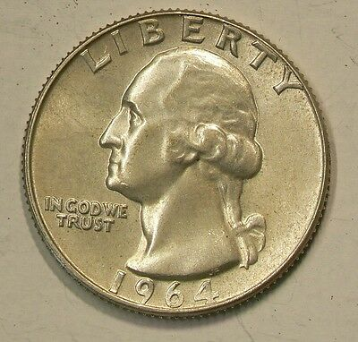 US 1964 D Silver 25c Quarter, Double D Variety Uncirculated #G7373