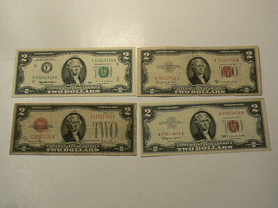 US Two Dollars $2  Lot of 4 Banknotes 1928 1953 1963 & 1995 #G7461