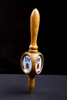 1970's Miller Lite Beer Tap 3 Sided Wooden Pull Handle