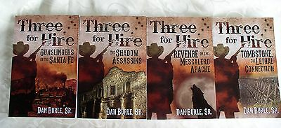 "Lot of 4 ""Three for Hire"" Books, Dan Burle, Sr. -  Signed by Author"
