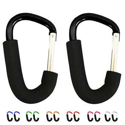 SS Buggy clips x2 large pram pushchair shopping bag hook carry clip, Black