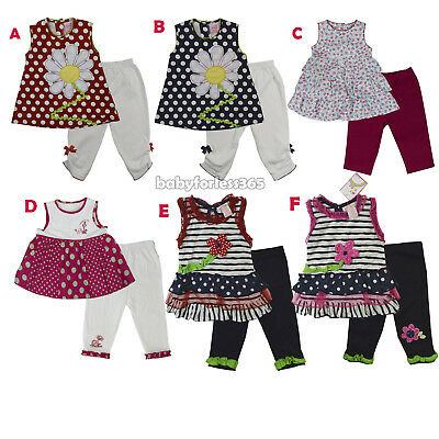132357423550a Baby Girls Outfits Clothes 2 Pc Shirt w Tunic Legging Size 3 6 9 12 18