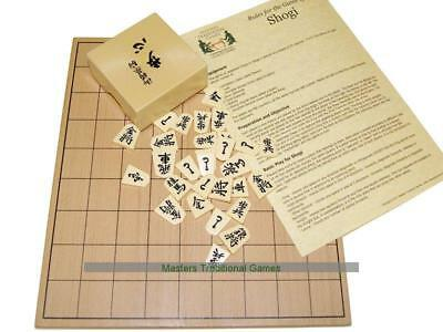 Wooden Shogi Board with Plastic Pieces
