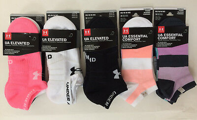 NWT Under Armour Womens Elevated Essential Comfort No Show Socks Multi 3 Pair MD