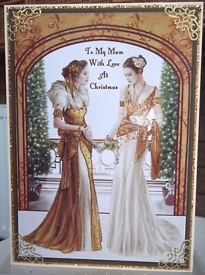 handmade art deco personalised mum christmas card two fabulous ladies in gold