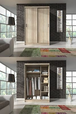 NEW MODERN BEDROOM SMALL SLIDING DOOR WARDROBE 130cm WHITE OR LIGHT SONOMA OAK