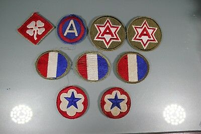 US WW2 3rd 4th 6th Army Ground & Service Forces. 9 Patch Lot. Cut Edge OA184