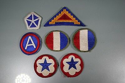 US WW2 3rd 7th Army Ground & Service Forces Corps. 7 Patch Lot. Cut Edge OA185