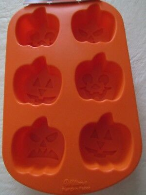 Wilton 6 Cavity Jack-O-Lantern Silicone Mold Orange Just in time for HALLOWEEN