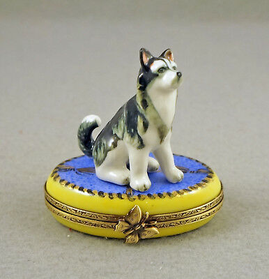 New French Limoges Trinket Box Cute Alaskan Malamute Husky Dog On Blue Rug