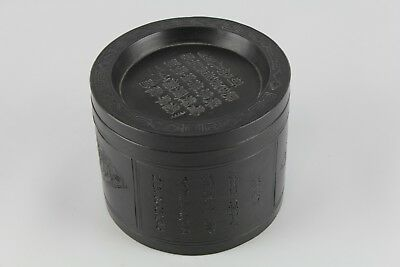 Old Chinese Yixing Round Container With Cover And Calligraphy