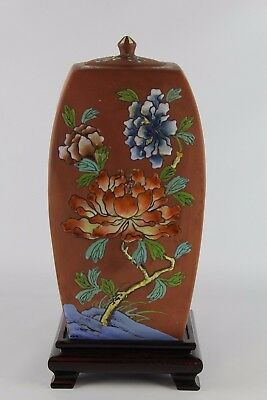 Large Old Chinese Yixing Polychrome Vase With Cover