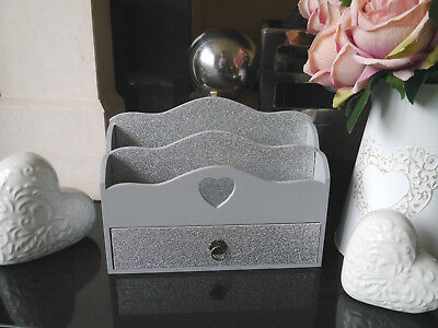 Wooden Letter Rack Post Holder Organizer With Drawer Grey & Silver