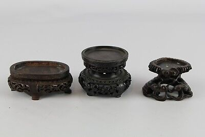 Lot Of 3 Old Chinese Small Hard Wood Stand