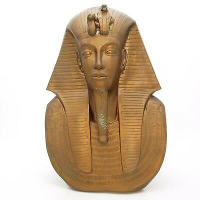"Vintage 21"" Egyptian Tutankhamen Golden Mask King Tut Bust Chalkware Statue Head"