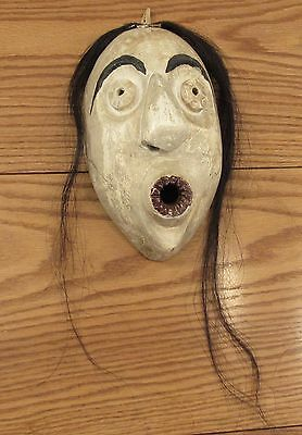 Vintage False Face Blower mask Iroquois Six Nations Reserve wood/horse hair